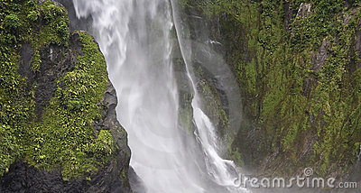 Waterfall In Fiordland New Zealand Royalty Free Stock Image - Image: 17607616