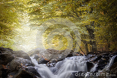 Waterfall in a forest in autumn