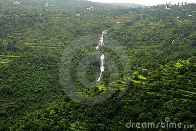 Waterfall on forested mountain