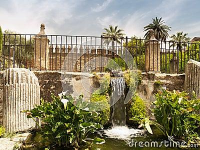 Waterfall in garden of Alcazar of Cordoba