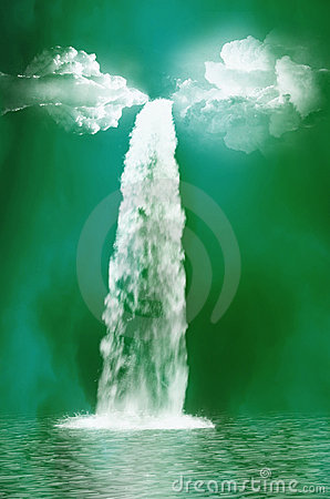 Waterfall in green