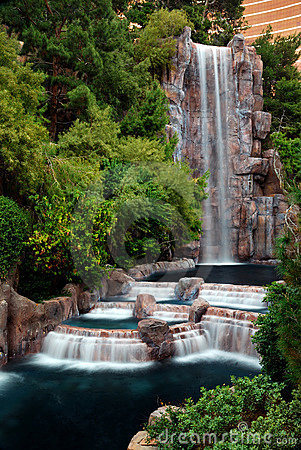 Waterfall and Horticulture, Las Vegas Editorial Photography