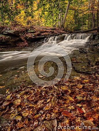 Free Waterfall In Autumn Stock Image - 46524211