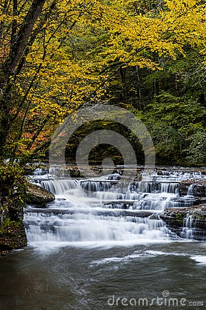 Free Waterfall In Autumn - Campbell Falls, Camp Creek State Park, West Virginia Stock Photos - 103008363