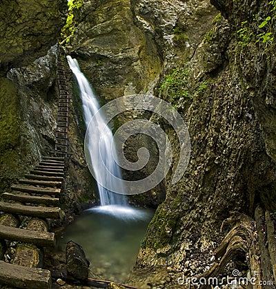 Free Waterfall In Mountain - Slovak Paradise Stock Photos - 12840493