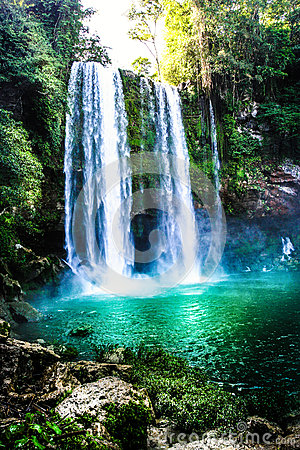 Free Waterfall In The Forest With Green Water Lake. Agua Azul Waterfall, Mexico. Stock Photos - 63025333