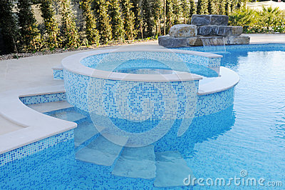 Artificial Waterfall over Blue Pool - Round Kids Pool