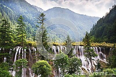 A waterfall in the Jiuzhaigou