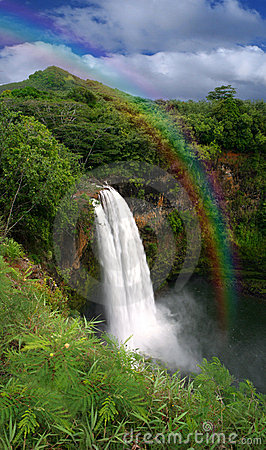 Waterfall in Kauai Hawaii With Rainbow