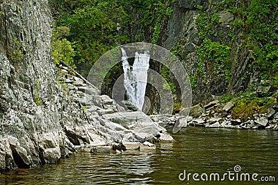 Waterfall Kishte at Teletskoye Lake. Gorny Altai