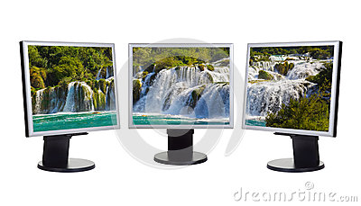 Waterfall KRKA (Croatia) in computer screens