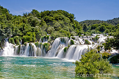 Waterfall in Krka national park Croatia