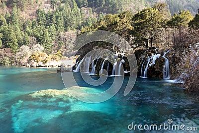 Waterfall with lake Jiuzhaigou