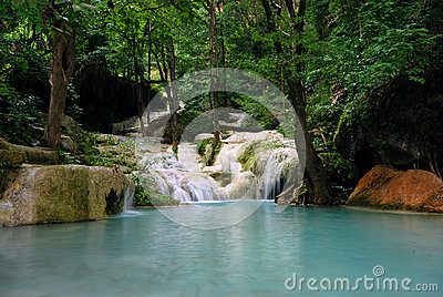 Waterfall lake nature swimming pool