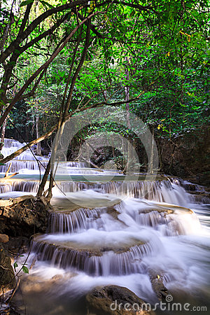 Waterfall landscape in deep forest