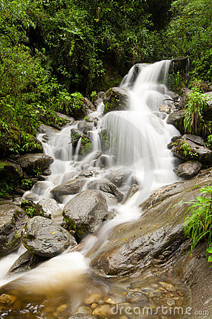 Waterfall on Machay river vertical