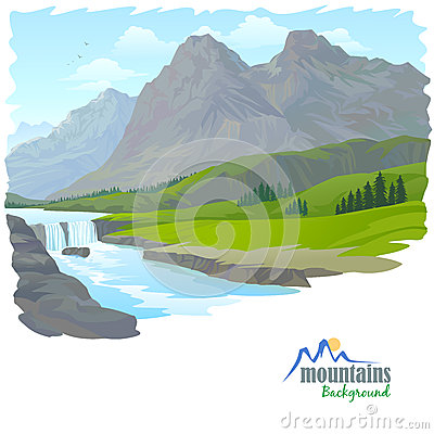 Waterfall  , Mountain, And Valley