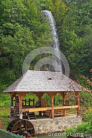 Waterfall near camping