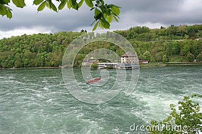 Waterfall Rhine Falls (Rheinfall) at Schaffhausen