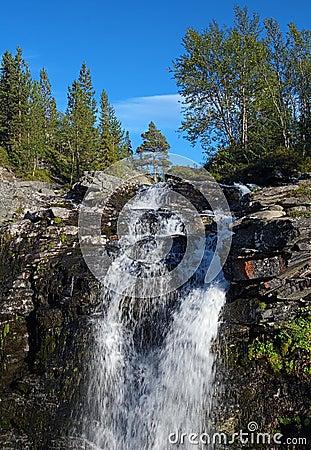 Waterfall on Risjok river in Khibiny Mountains