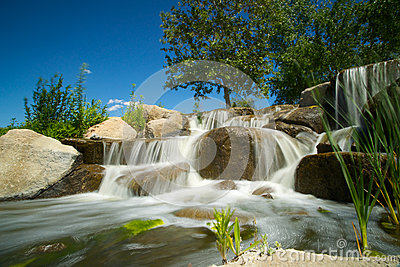 Waterfall Stream over Boulders