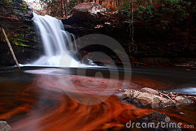 Waterfall and swirled patterns