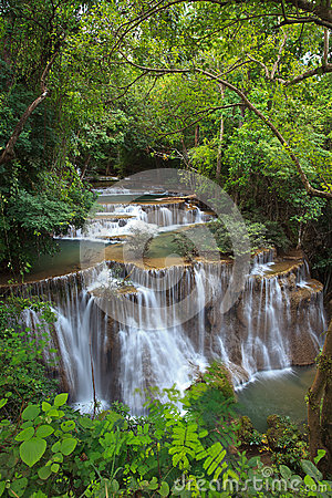 Waterfall in thai national park in the deep forest