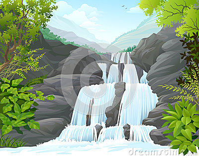 Waterfall in Tropical Forest amidst hills