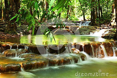 Waterfall in tropical forest , Thailand