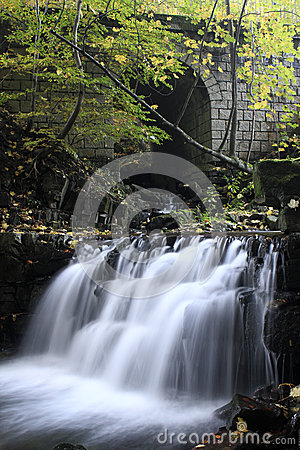 Waterfall under Stone Bridge on the Satina River