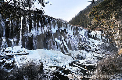 Waterfall in Winter, Jiuzhaigou, China