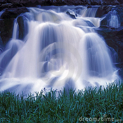 Free Waterfall With Grass Royalty Free Stock Image - 2402256