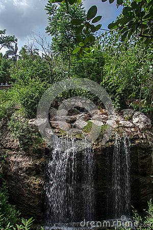 Waterfall in XCaret Yucatan Mexico