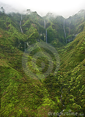 Waterfalls And Mist - Kauai Royalty Free Stock Photo - Image: 14885415