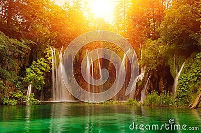 Waterfalls in national park. Plitvice
