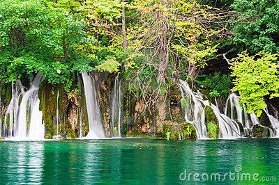 Waterfalls in national park. Plitvice