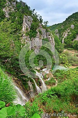 Waterfalls at national park. Plitvice, Croatia