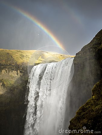Waterfalls Scenery Under Rainbow Free Public Domain Cc0 Image