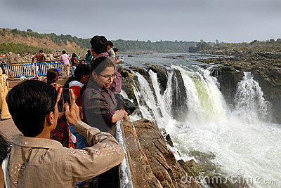 Waterfalls & the tourists Editorial Stock Photo