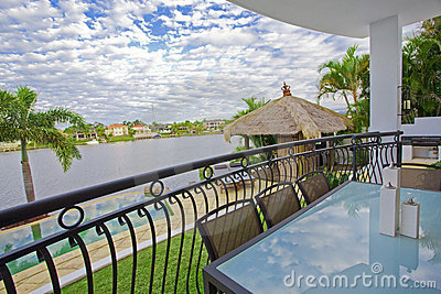 Waterfront balcony entertainment area