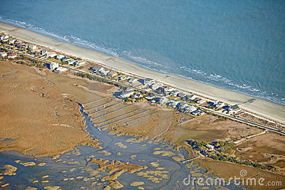 Waterfront homes aerial