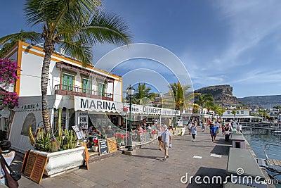 Waterfront in Puerto de Mogan, Gran Canaria, Spain Editorial Stock Image