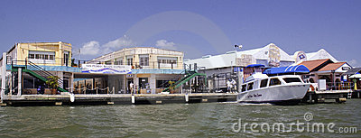 Waterfront shops in Belize City, Belize Editorial Stock Photo