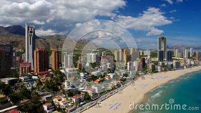 Waterfront skyscrapers and beach in Benidorm, Costa Blanca stock video footage
