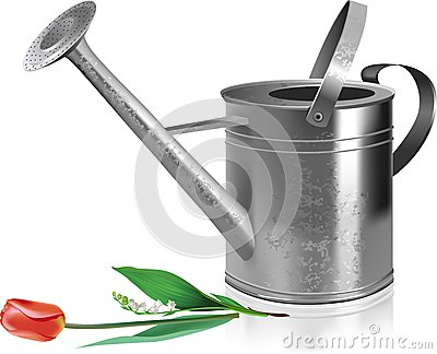 Watering can and flowers.