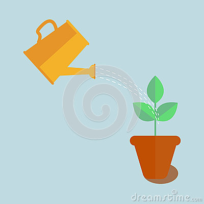 Watering can with plant Vector Illustration