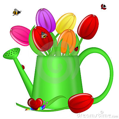 Watering Can with Spring Tulip Flowers