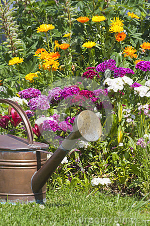 Watering can stands in front of a flowerbed