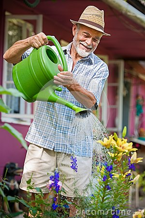 Watering flowers in  the garden