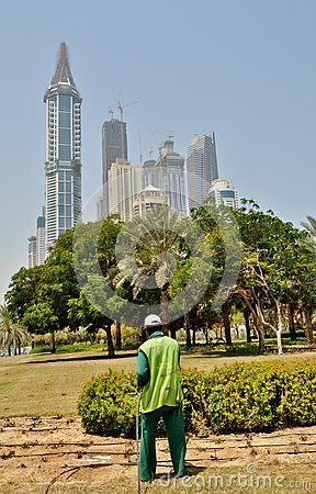 Free Watering Grass And Plants In Dubai Stock Images - 69924874